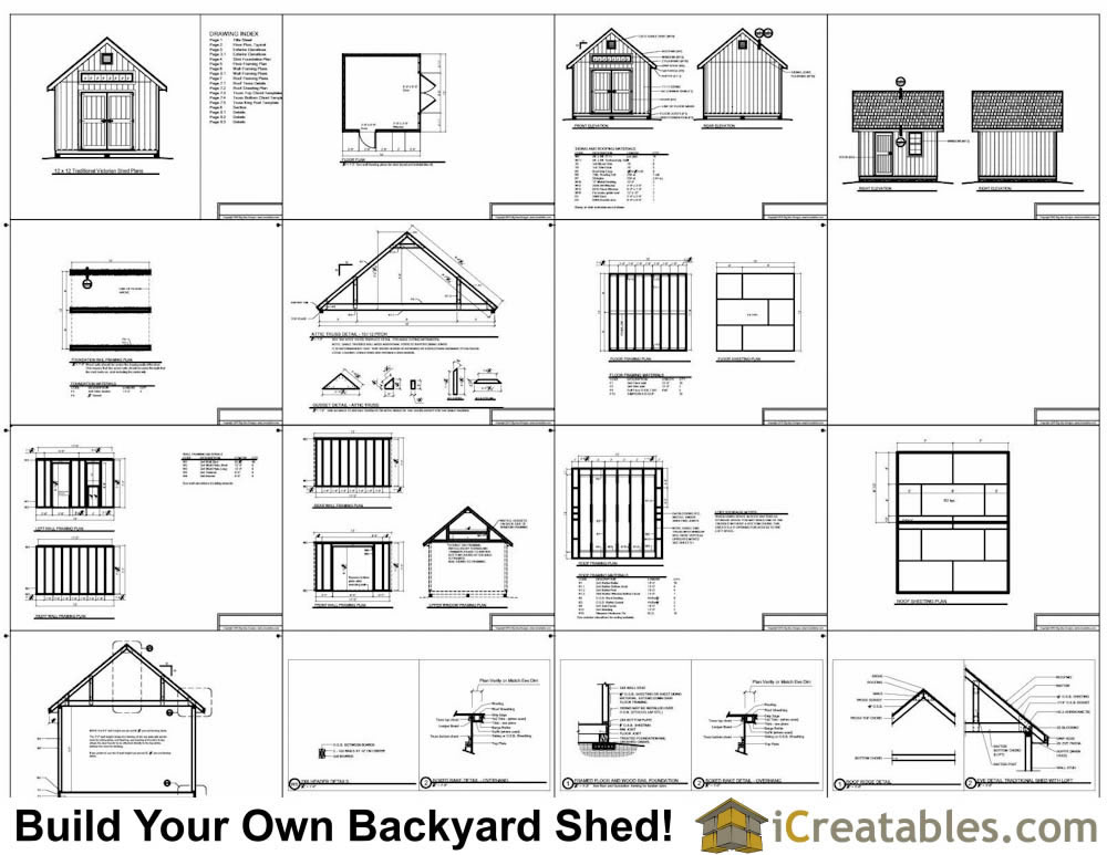 12x12 Traditional Victorian Backyard Shed Plans | iCreatables.com