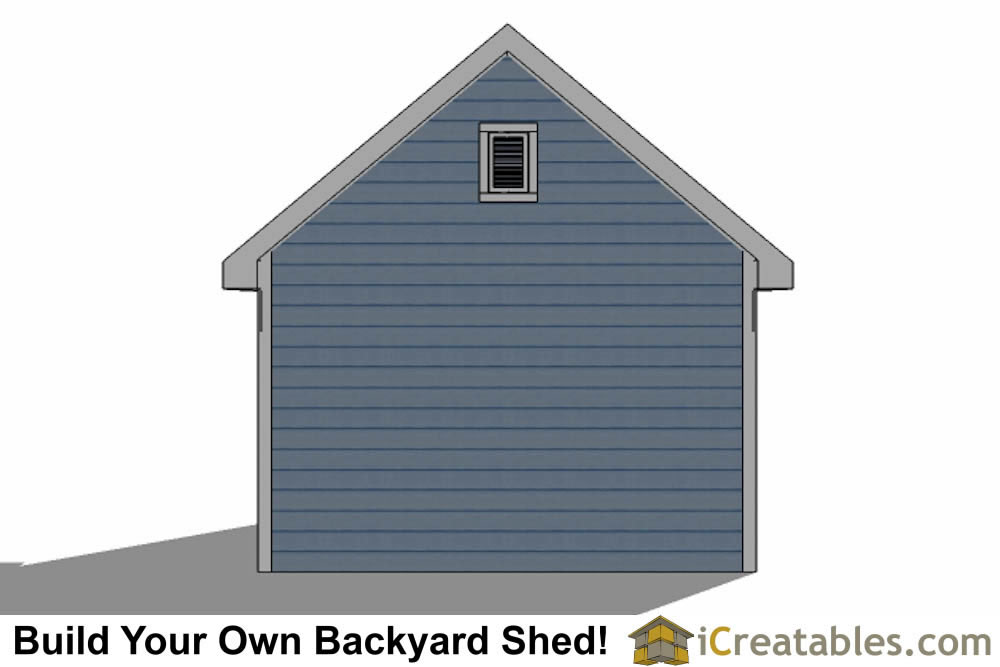 12x16 Traditional Victorian Style Storage Shed Plans rear elevation