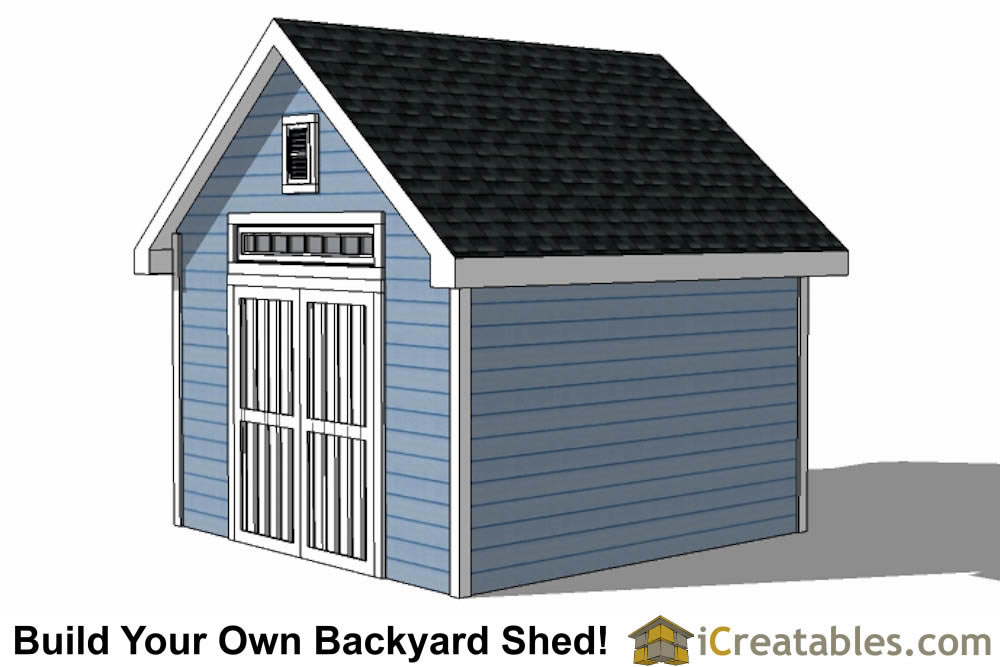 12x16 Traditional Victorian Style Storage Shed Plans right side