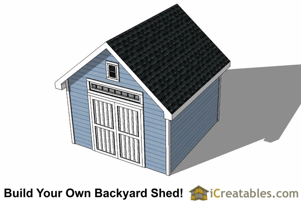 12x16 Traditional Victorian Style Storage Shed Plans top view