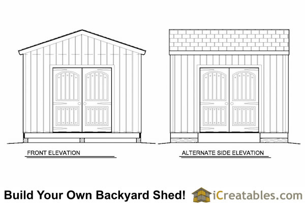 12x12 storage shed plans elevations