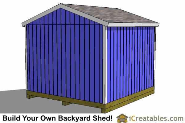 12x12 storage shed plans rear elevation