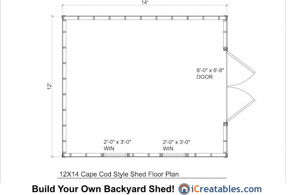 12x14 cape cod style shed plans icreatables for 12 x 12 shed floor plans