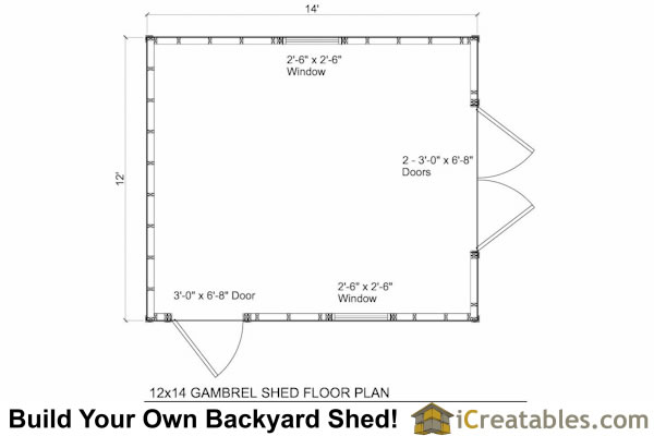 12x14 gambrel shed plans 12x14 barn shed plans for Gambrel barn house floor plans