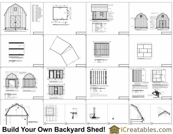 12x14 gambrel shed plans 12x14 barn shed plans for Gambrel roof dimensions