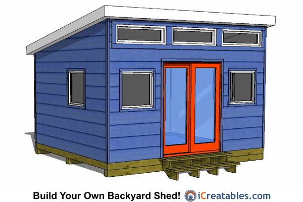 12x14 modern shed plans front