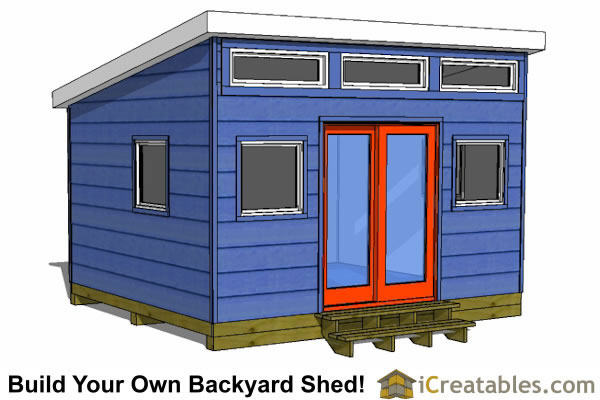 12x14 modern shed plans door on end