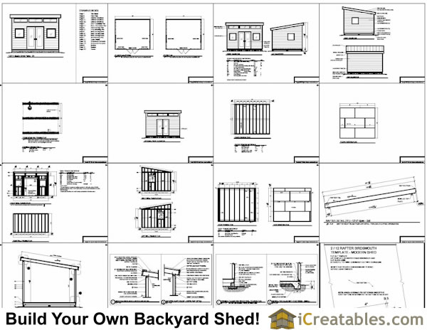 12x14 modern shed plans