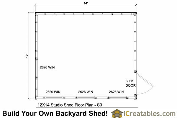 12x14 modern shed plans floor plan