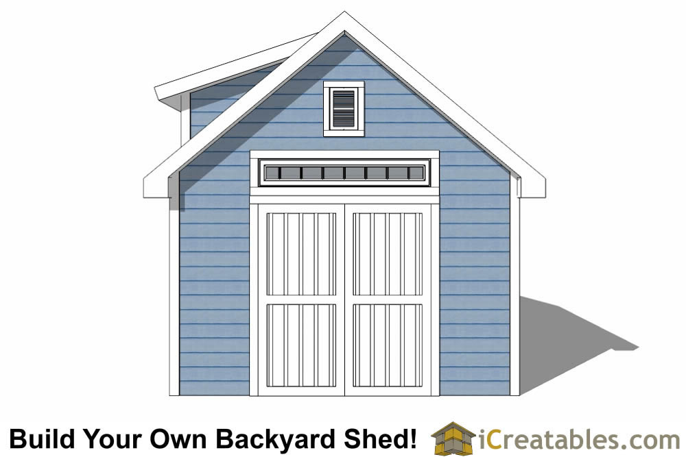 12x14 shed with dormer roof plans elevation