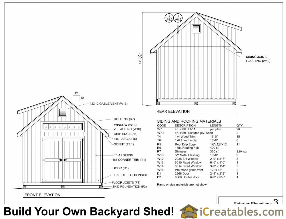 12x14 shed with dormer exterior elevations plans