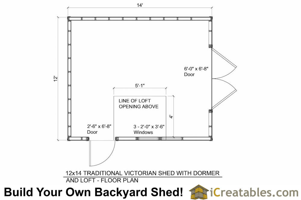 12x14  dormer roof shed floor plans