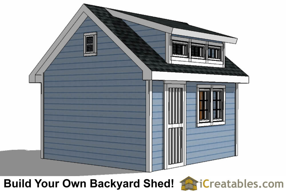 12x14 shed with dormer roof plans right