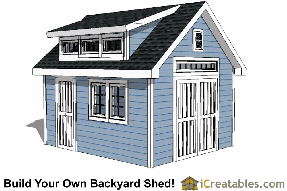 12x14 shed with dormer roof plans