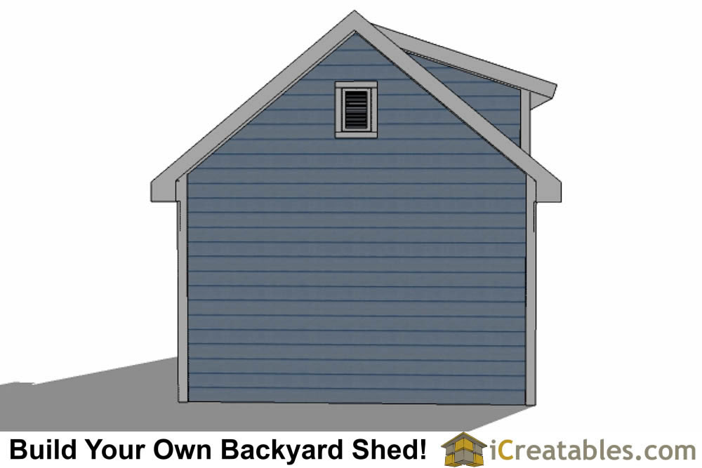 12x14 shed with dormer roof plans rear elevation