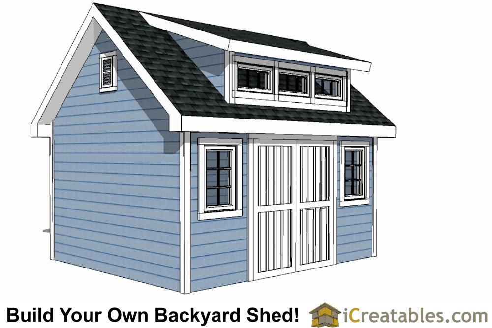 12x14 shed plans with dormer for Shed with dormer