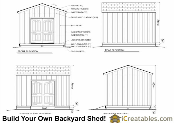 12x14 backyard shed elevation
