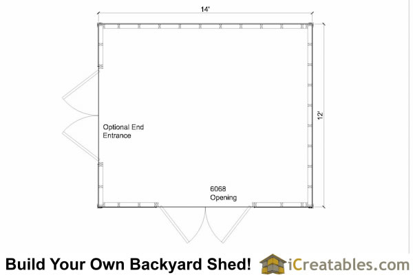 12x14 gable shed floor plan