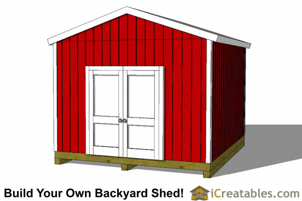 12x14 backyard shed plans doors angled view