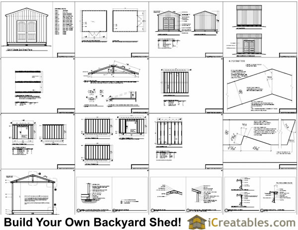 12x14 Gable Shed Plans Include The Following: