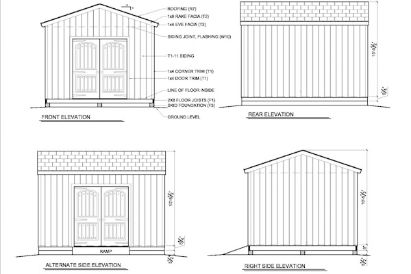 12x14 gable shed elevation