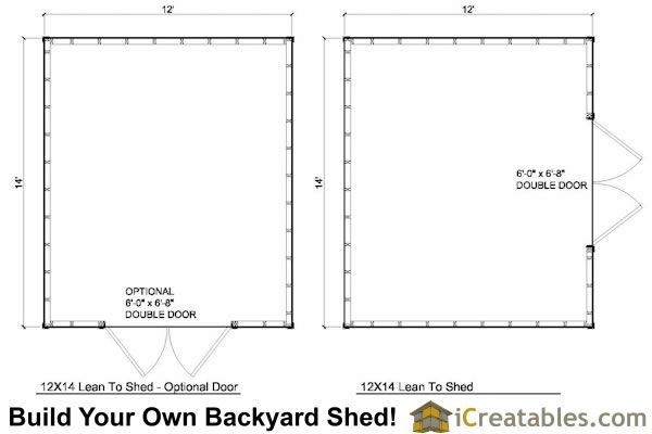 12x14 Lean to shed plans floor plan