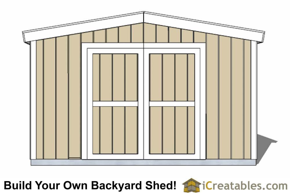 12x16 Short Shed Plans Double Door End Elevation ...