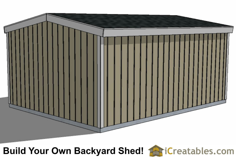 12x16 short shed plans side view