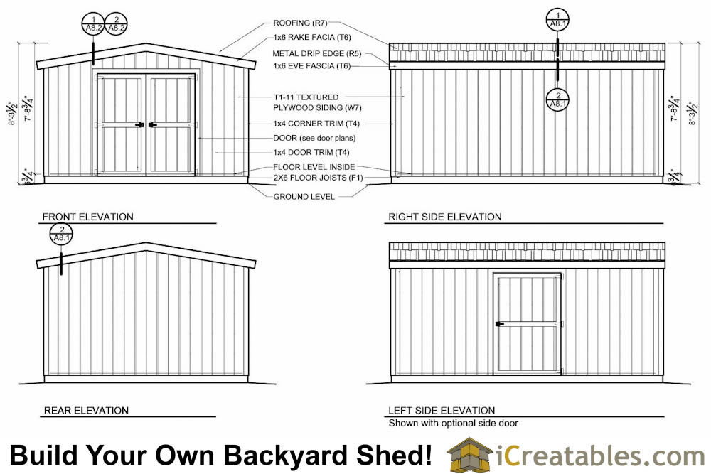 12x16 short shed plans elevations