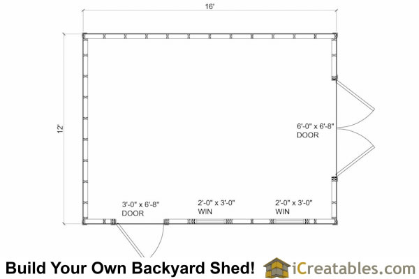 12x16 Cape Cod  Shed Floor Plans
