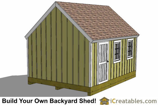 12x16 Garden Shed Plans  Rear View