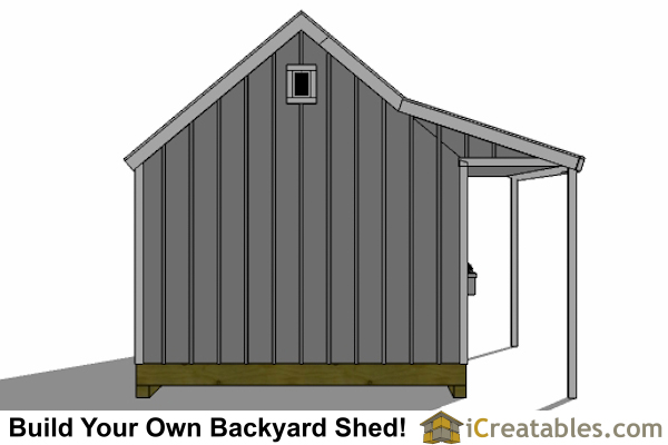 12x16 cape cod garden shed plans with porch end elevation