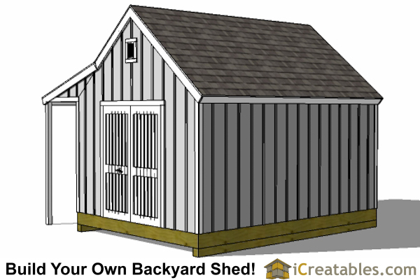 12x16 cape cod garden shed plans with porch rear view