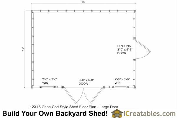 12x16 cape cod larg door shed plans for 12x16 shed floor plans
