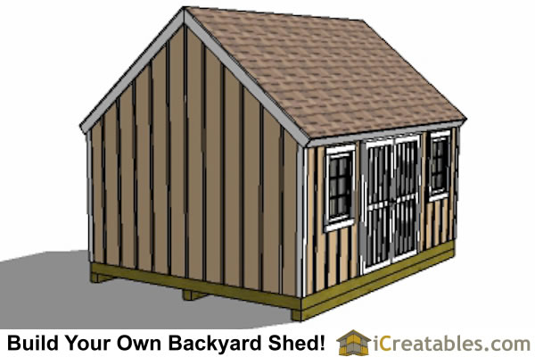 12x16 Cape Cod Shed Plans Large Door Rear Elevation