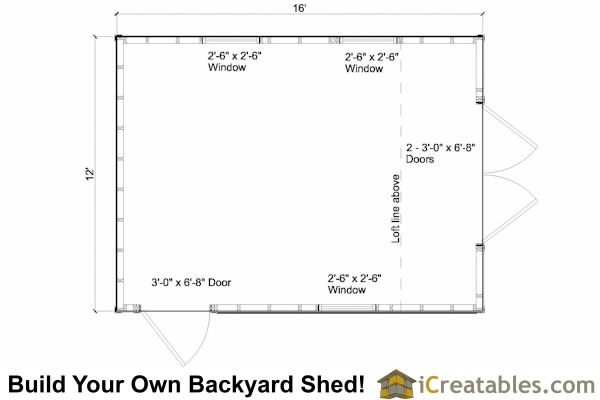 12x16 gambrel shed floor plans