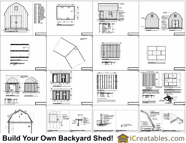 12x16 Gambrel Shed Plans Include The Following: