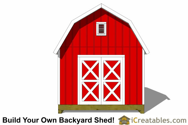 14x16 Gambrel shed plans end view