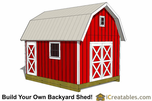 10x16 Gambrel Shed Plans front