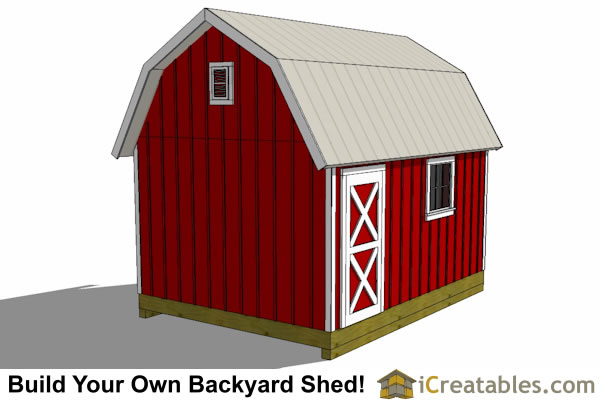 12x16 gambrel shed plans rear view