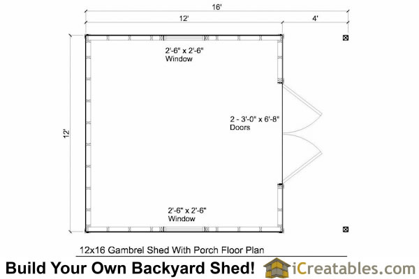 12x16 gambrel shed with porch floor plans