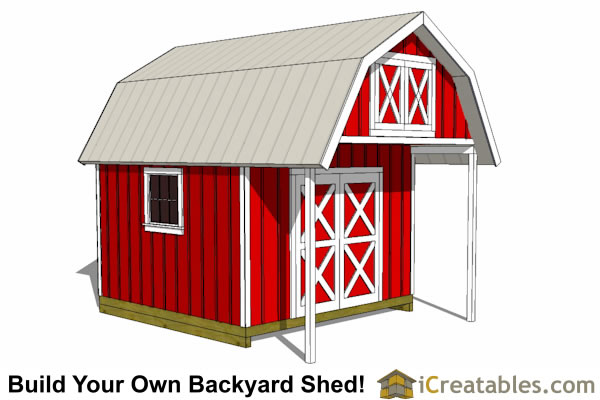 gambrel shed with porch