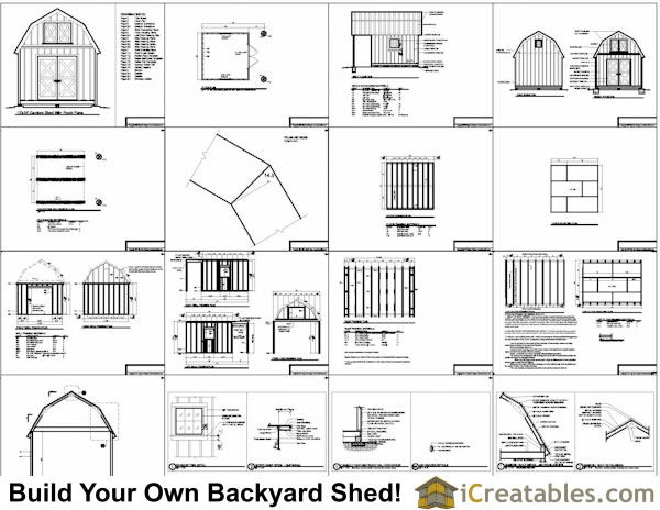 12x16 Gambrel Shed Plans with porch plans Include The Following: