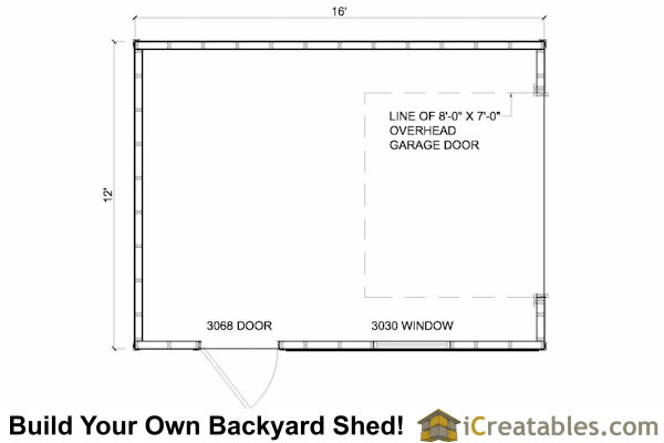 12x16 shed with garage door floor plan