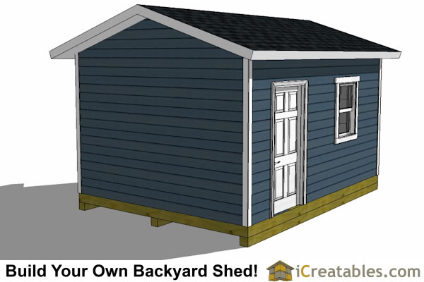 12x16 shed plans with garage door rear view