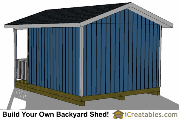 12x16 garden shed with porch rear elevation