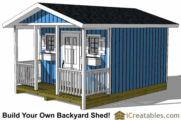 12x20 backyard shed with porch right side