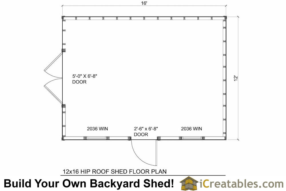 12x16 hip roof shed plans for Shed floor plans