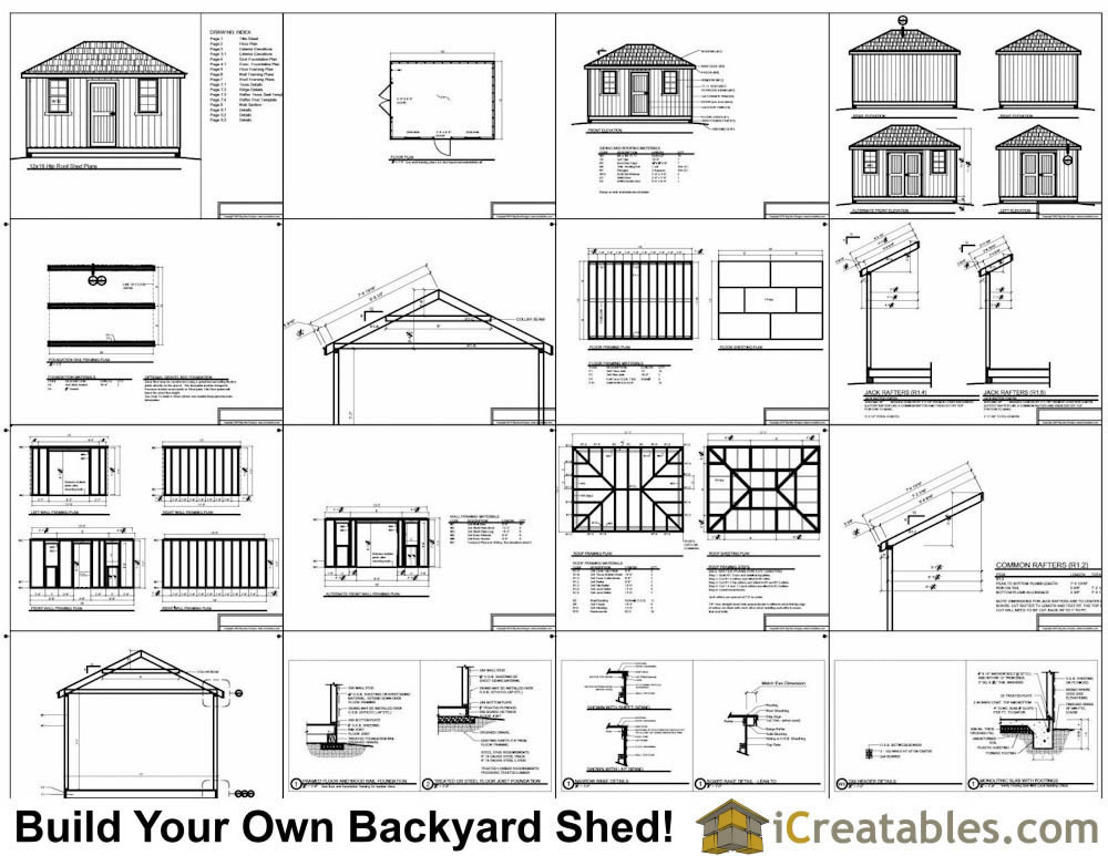 12x16 hip roof shed plans for Shed roof plans