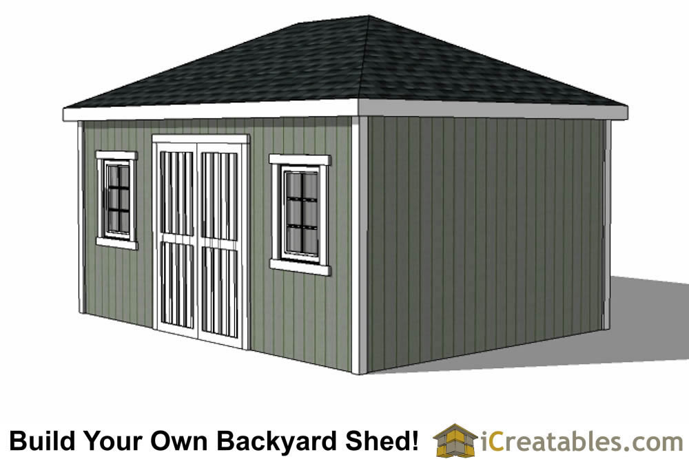 12x16 hip roof shed with double doors